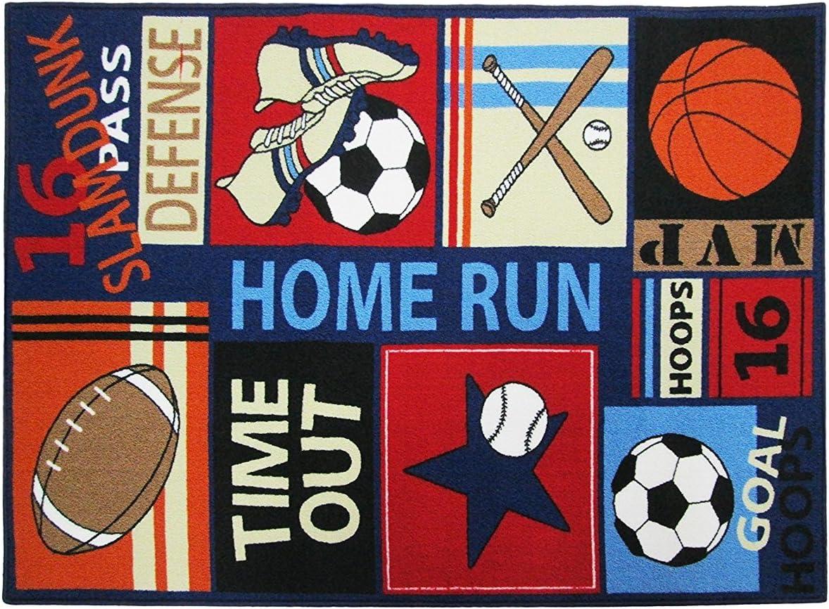 HUAHOO Fun Sport Kids Rugs Nylon Carpet Soccer Baseball Football Basketball with Multi-Color for Boy Girl Playroom (80 x 120cm(31.5'' x 47''))