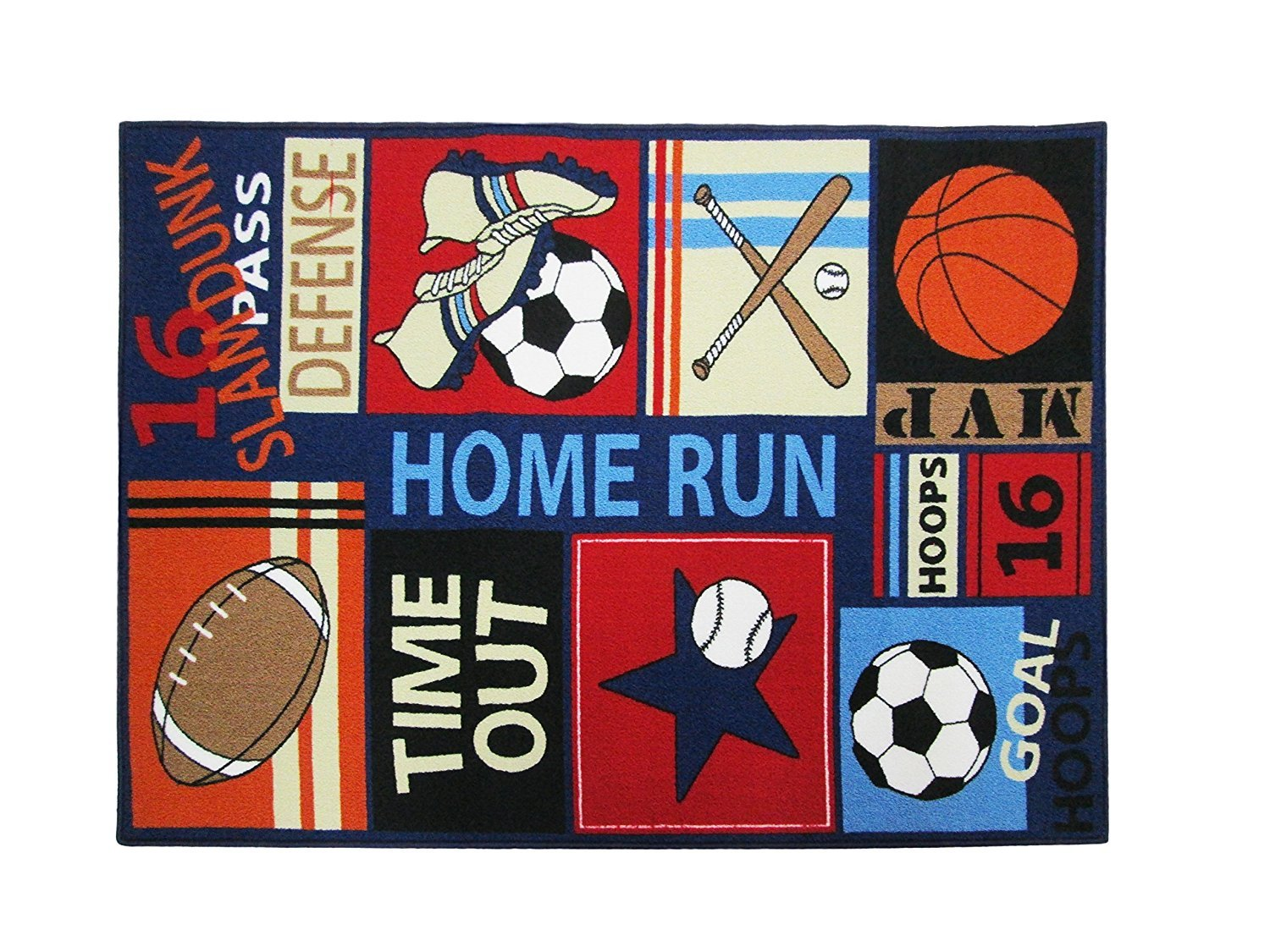 HUAHOO Fun Sport Kids Rugs Nylon Carpet Soccer Baseball Football Basketball with Multi-Color for Boy Girl Playroom (80 x 120cm(31.5'' x 47''))