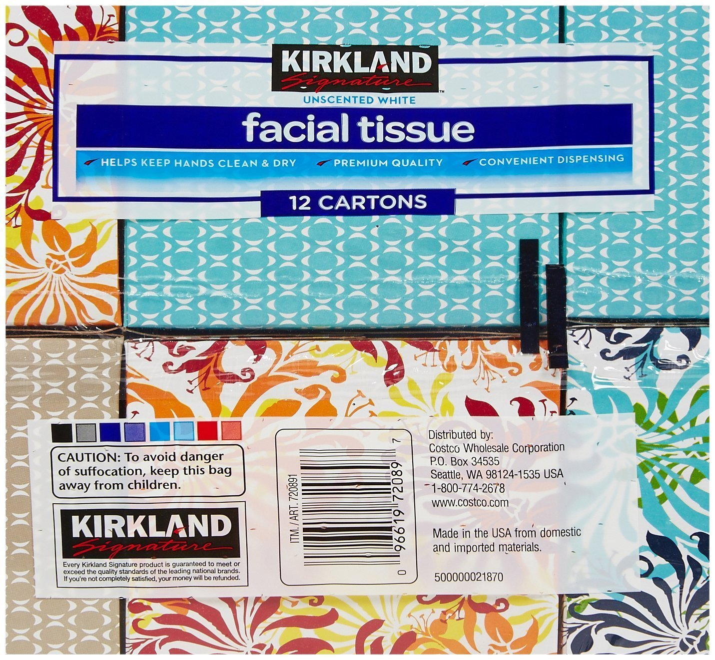 Amazon.com: Kirkland Signature Facial Tissue, 2-Ply - 90 ct - 12 pk ...