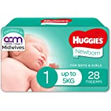 Huggies Newborn Nappies, Unisex, Size 1 (Up To 5kg) 28 Count