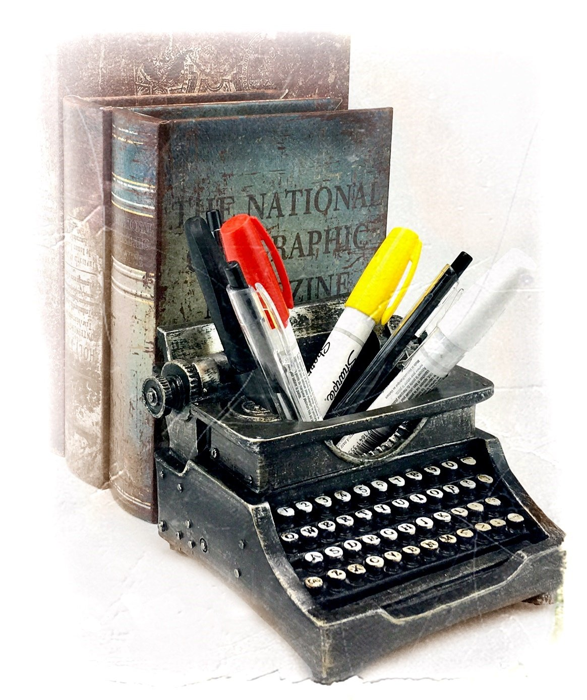 office pen holder. Typewriter Pen Holder Pencil Cup Writing Utensils Desktop Office Vintage Decor 0