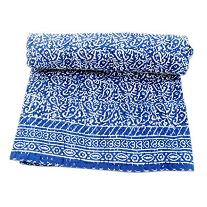 Amazon Com Ajantha Handicrafts Emporium Indigo Kantha Quilt Indian