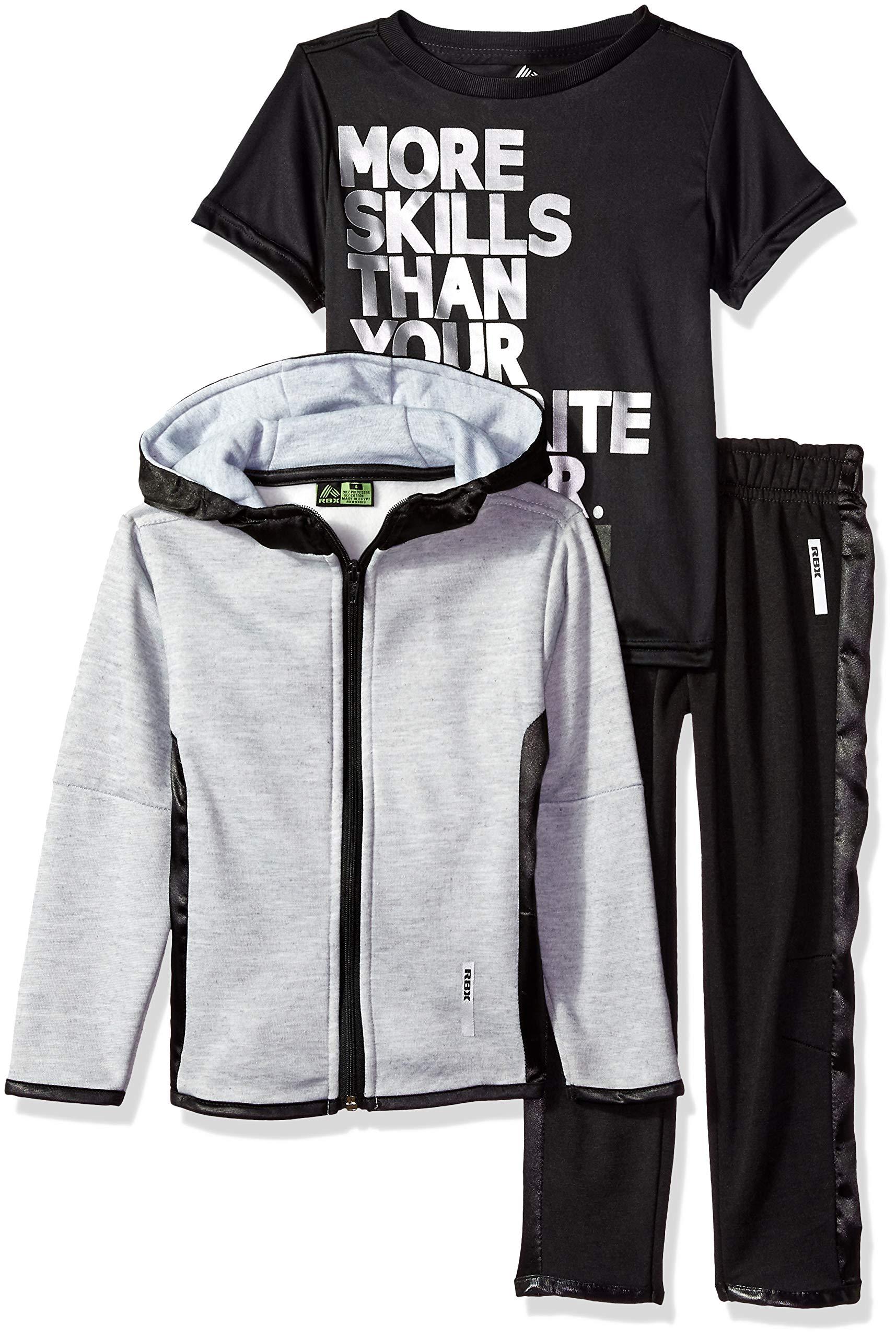 RBX Boys' Big Fleece Jacket, Tee and Pant Set, Grey Heather/Orange, 10