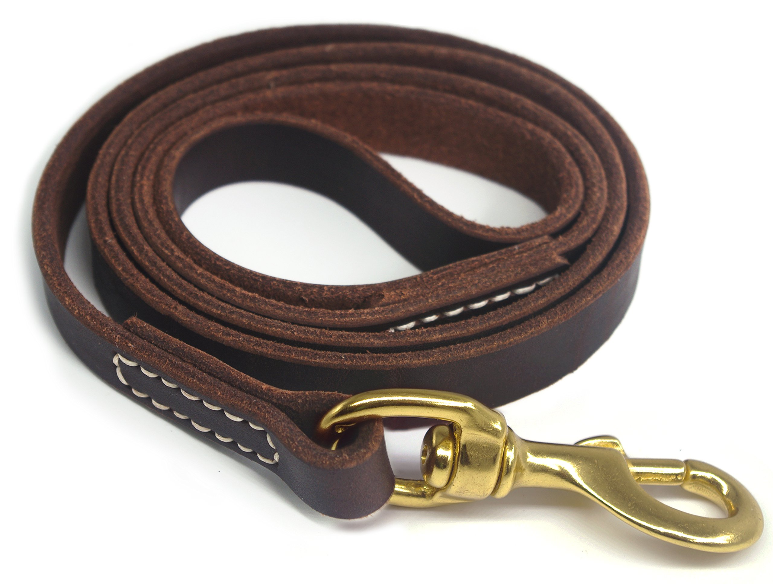 YOGADOG Genuine Leather Dog Training Leash, Brown. Large Metal Clasp for Medium and Large Dogs. Lifetime Gurantee - 6 feet