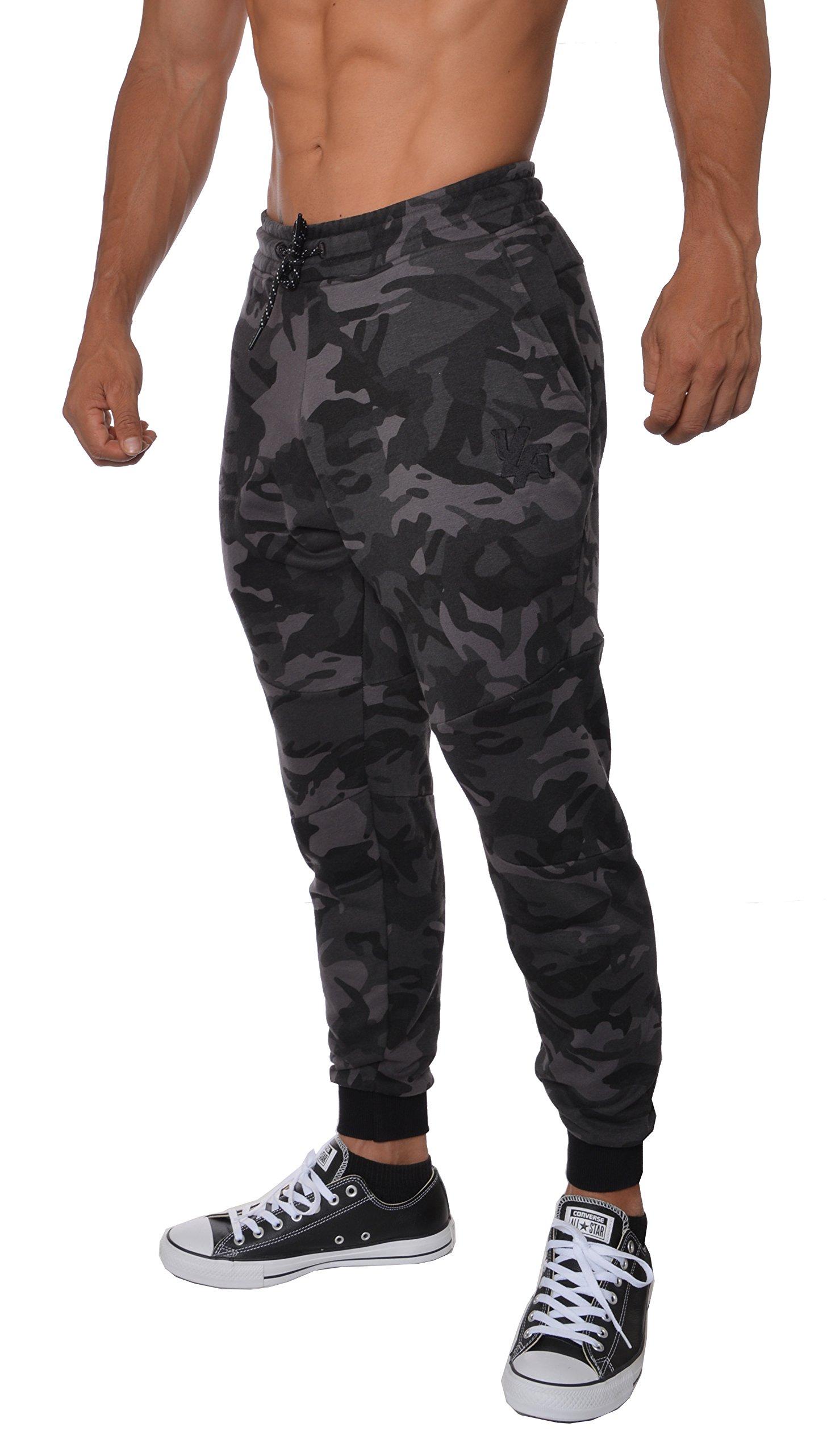 YoungLA French Terry Cotton Sweatpants Jogger Pants Camouflage Black Medium