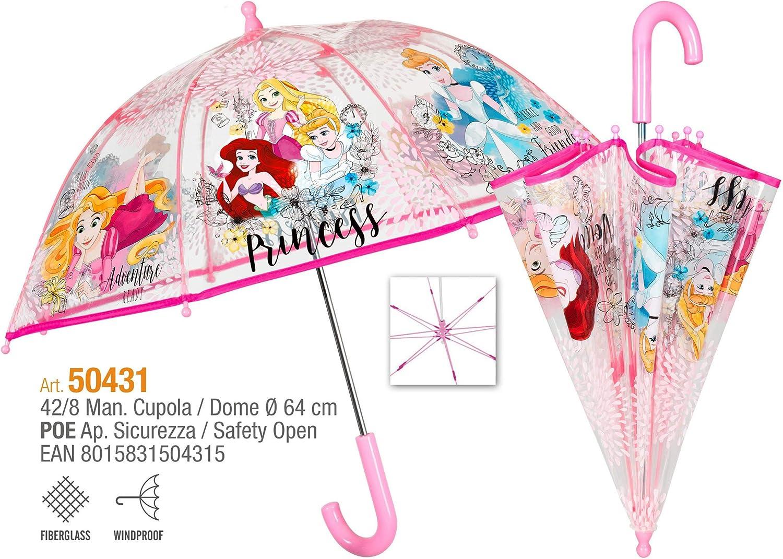 dise/ño de princesas Disney Paraguas transparente para ni/ña Ariel Rapunzel