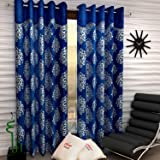 Home Sizzler 2 Piece Eyelet Polyester Door Curtains - 7 ft, Blue