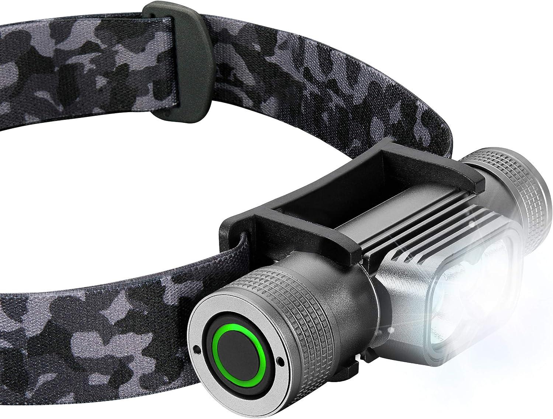 Heavy-Duty IPX8 Waterproof Hard Hat Light Lightweight Grey Running Headlight Camping SLONIK Rechargeable Headlamp for Adults 1000 Lumens Super Bright 600 ft Beam LED Headlamp 2200mAh Battery