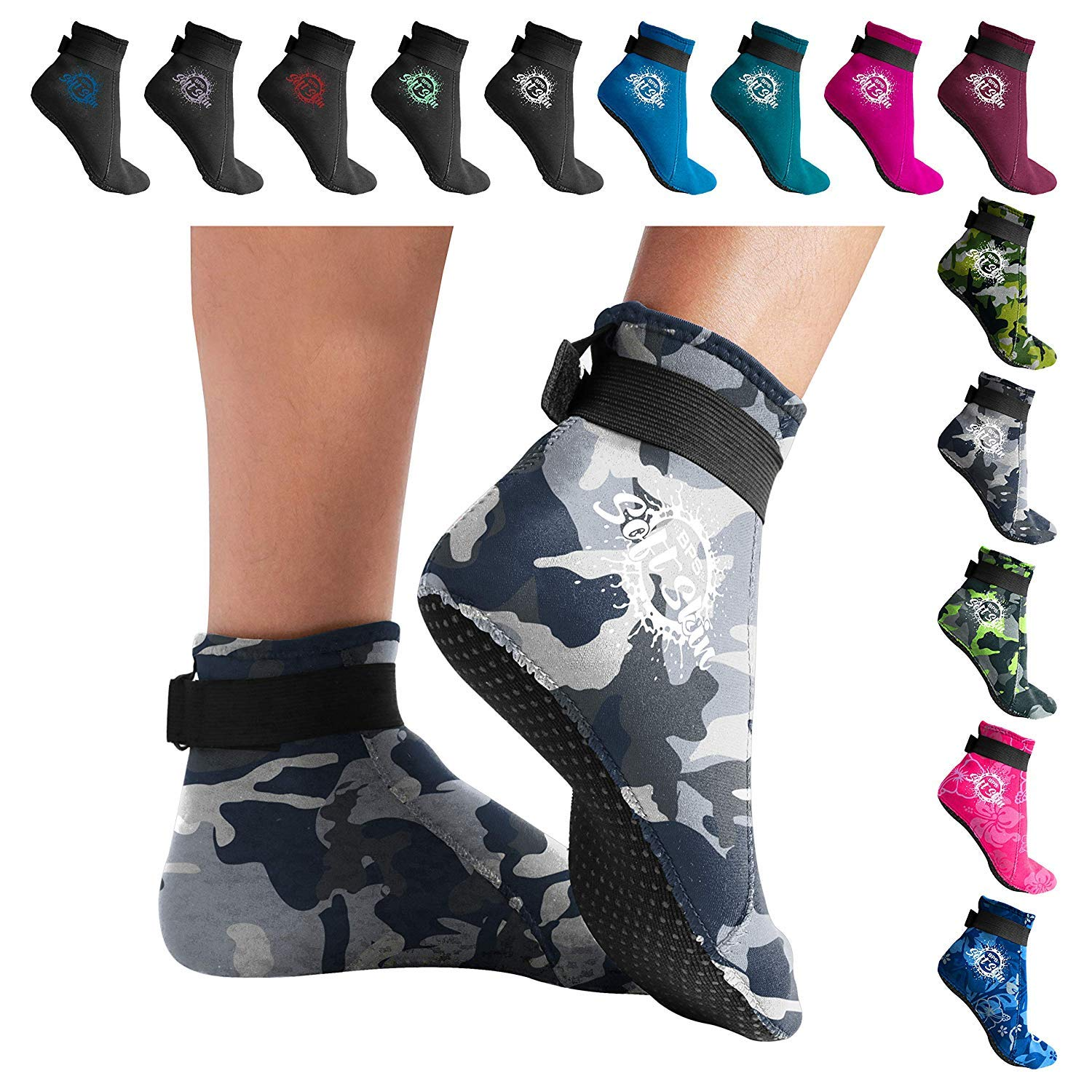 BPS 'Soft Skin' 3mm Neoprene Diving Socks with Grip - Sand, surf, Snorkel, Kayak, and Other Water Sports - Low Cut (Grey Camo, XS)