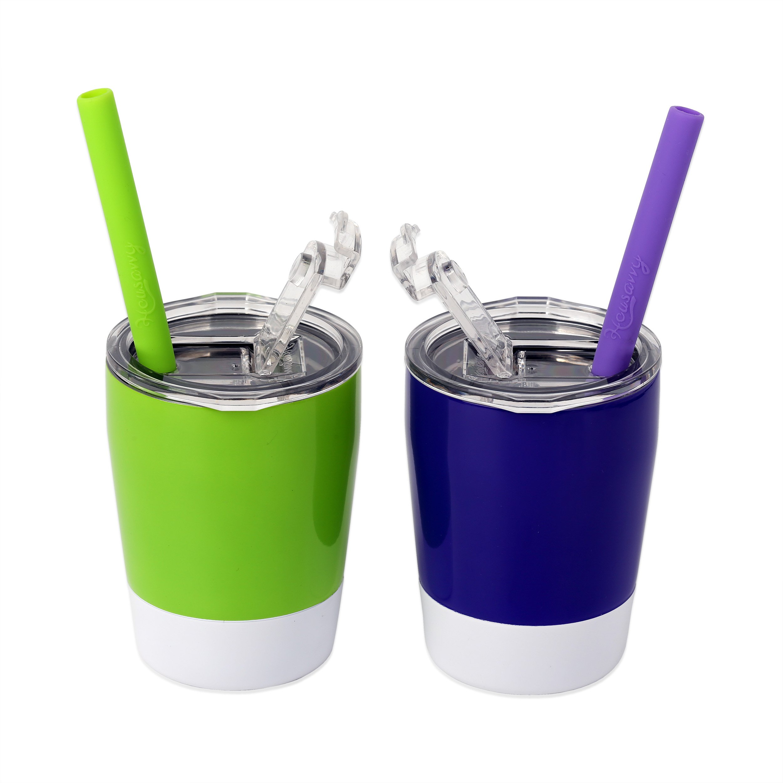 Housavvy 2 Piece Toddler Double Wall Stainless Steel Cups with Lids and Straws