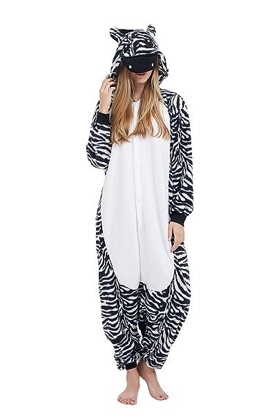 Fandecie Animal Costume Animal Traje Pijamas Pijamas Jumpsuit Cebra Mujer Hombre Cosplay Adulto para Carnaval Animal Halloween