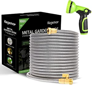 kegemor Garden Hose 100 ft-Metal Water Hose -Flexible Lightweight Outdoor Yard Strong Durable Heavy Duty 304 Stainless Steel Hose Pipe with 10-Way Nozzle, Solid 3/4