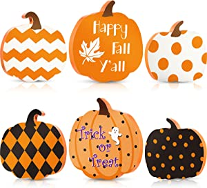 3 Pieces Fall Pumkin Table Wooden Sign Reversible Pumpkin Signs Double Side Printed Freestanding Table Decorations Fall Sign Decor for Autumn Harvest Thanksgiving Halloween Decoration (Happy Style)
