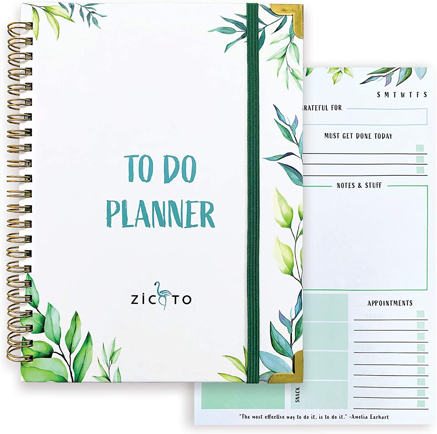 Simplified Greenery To Do List Notebook - Beautiful Daily Planner Easily Organizes Your Daily Tasks And Boosts Productivity - The Perfect Journal And Undated Office Supplies Notepad For Women
