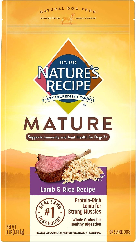 Nature's Recipe Mature Dry Dog Food, Lamb & Rice Recipe, 4 Pounds