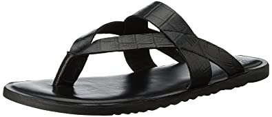 21b553cba22b Van Heusen Men's Black Leather Sandals - 10 UK/India (44 EU): Buy ...