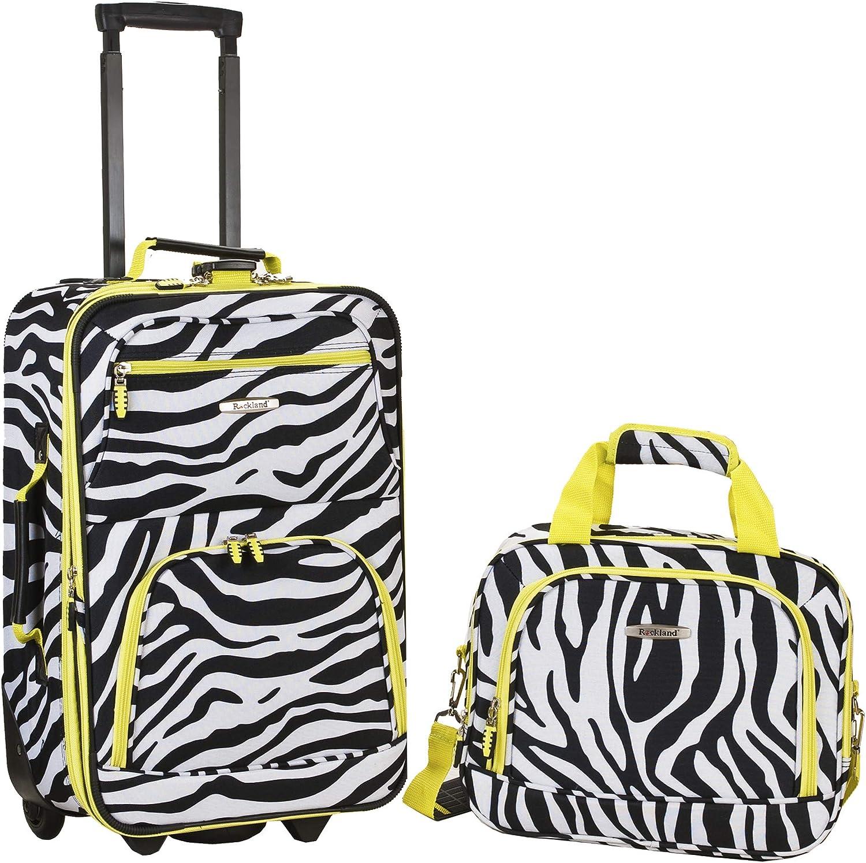 Rockland Fashion Softside Upright Luggage Set, Lime Zebra, 2-Piece (14/19)