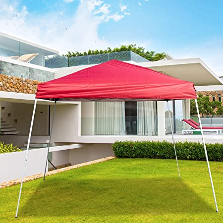 DOIT 8 x 8 Ft Pop Up Canopy Tent Gazebo 10x 10 Ft Base Slant Adjustable Extendable Legs for Party or Camping,Portable Carrying Bag,Red