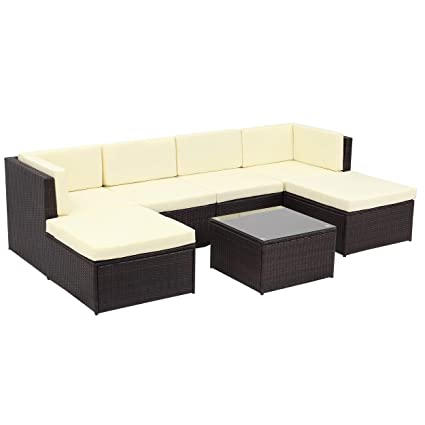 Wisteria Lane Outdoor Patio Furniture Sets,7 Piece Sectional Sofa Couch  Conversation Sets Garden Rattan