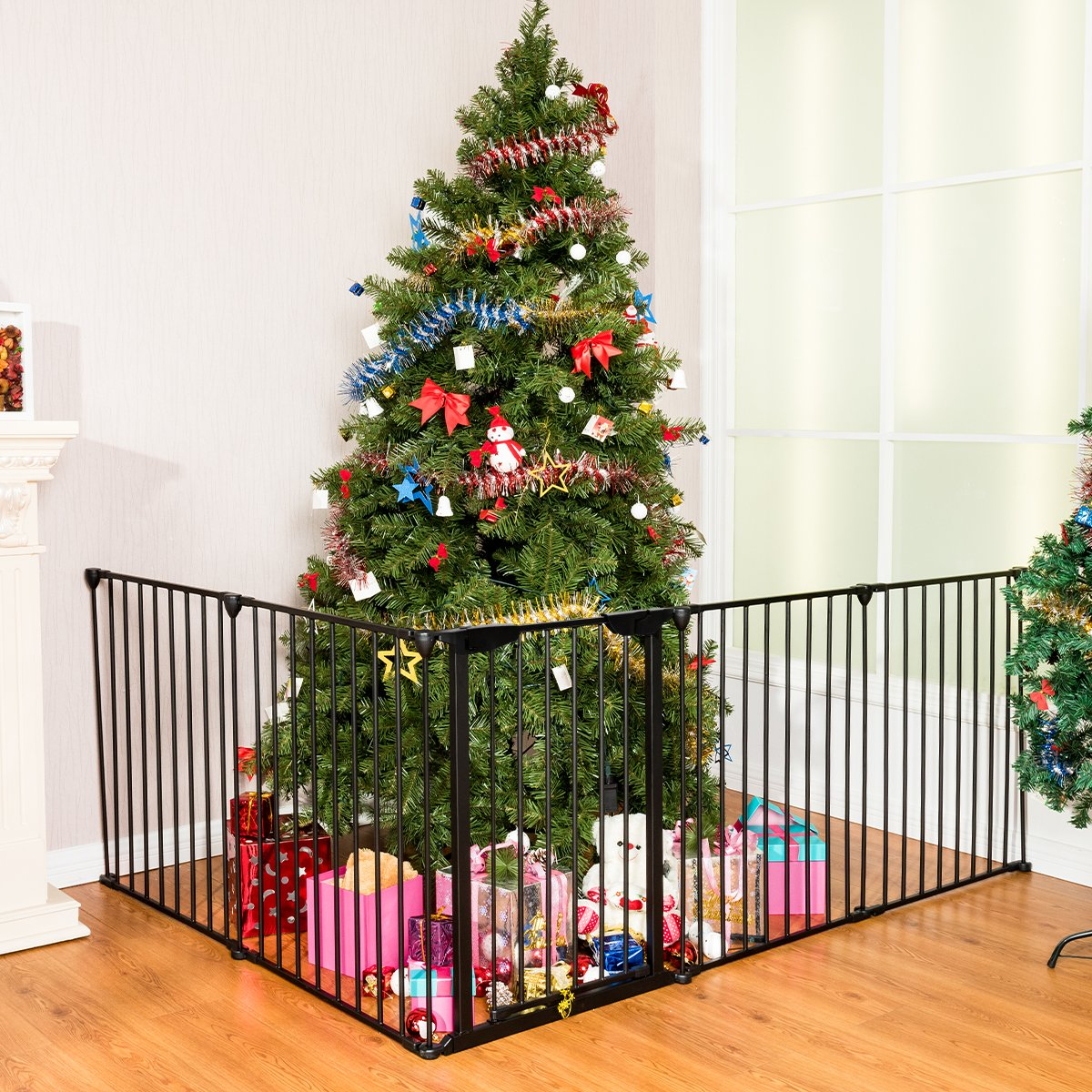 Costway Baby Safety Playpen Hearth Gate Metal Fire Gate Room Divider 305 cm Automatic Close Door Fireplace Fence