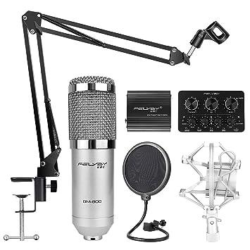 Amazon.com: FELYBY paquete de micrófono condensador, BM-800 ...