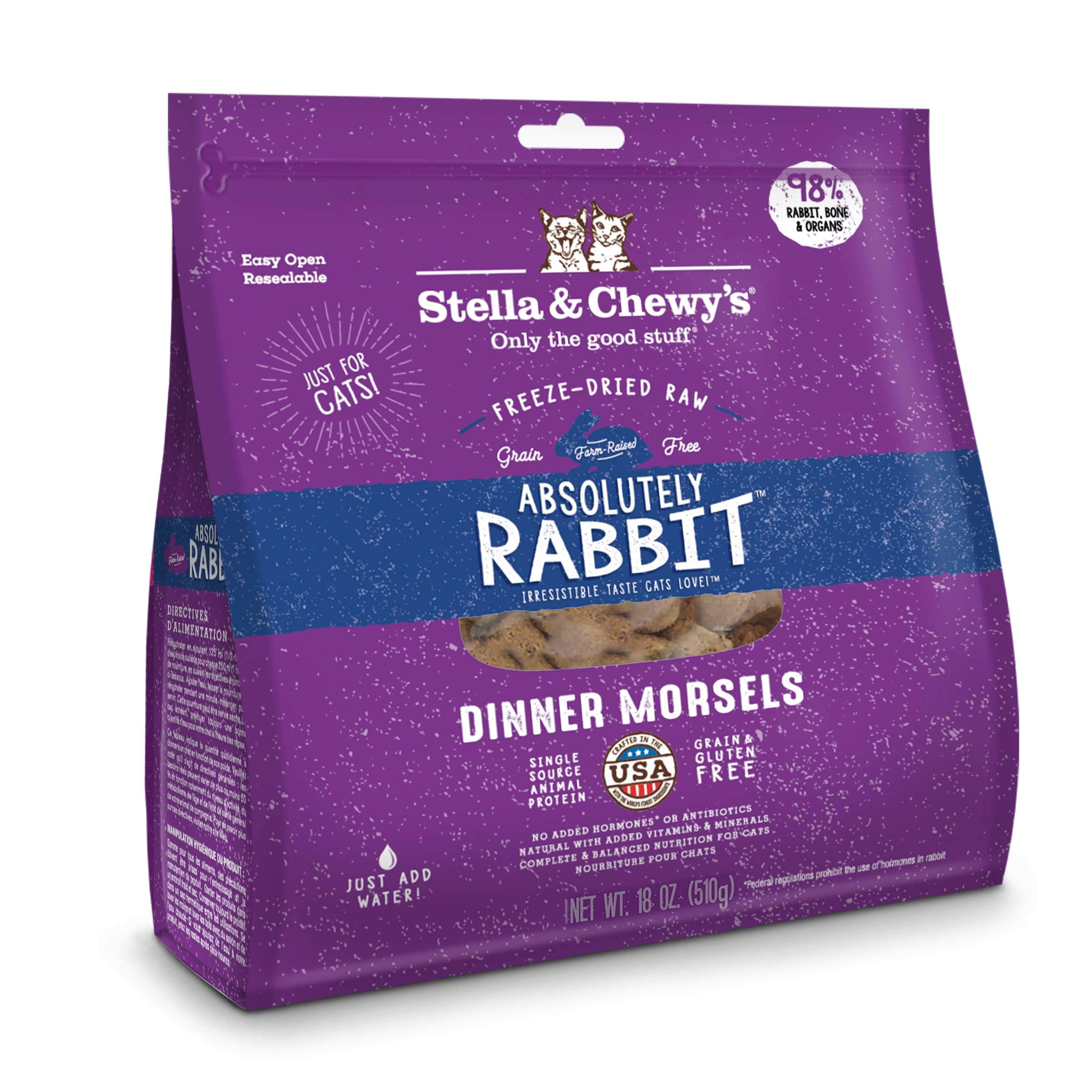 Stella & Chewy's Freeze-Dried Raw Absolutely Rabbit Dinner Morsels Grain-Free Cat Food, 18 oz Bag