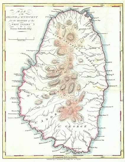 Amazon.com: Historic Map | 1794 Map of the Island of St. Vincent ...