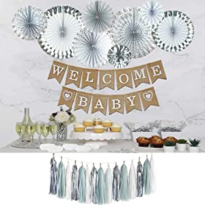 Baby Shower Decorations Neutral For YOUR HOME | Baby shower for boy | Baby Shower Decorations | Baby Elephant Theme Baby Shower for Boy | Gender neutral baby shower decorations | Winter Theme Grey and Silver Welcome Baby banner | Bae Bell Décor