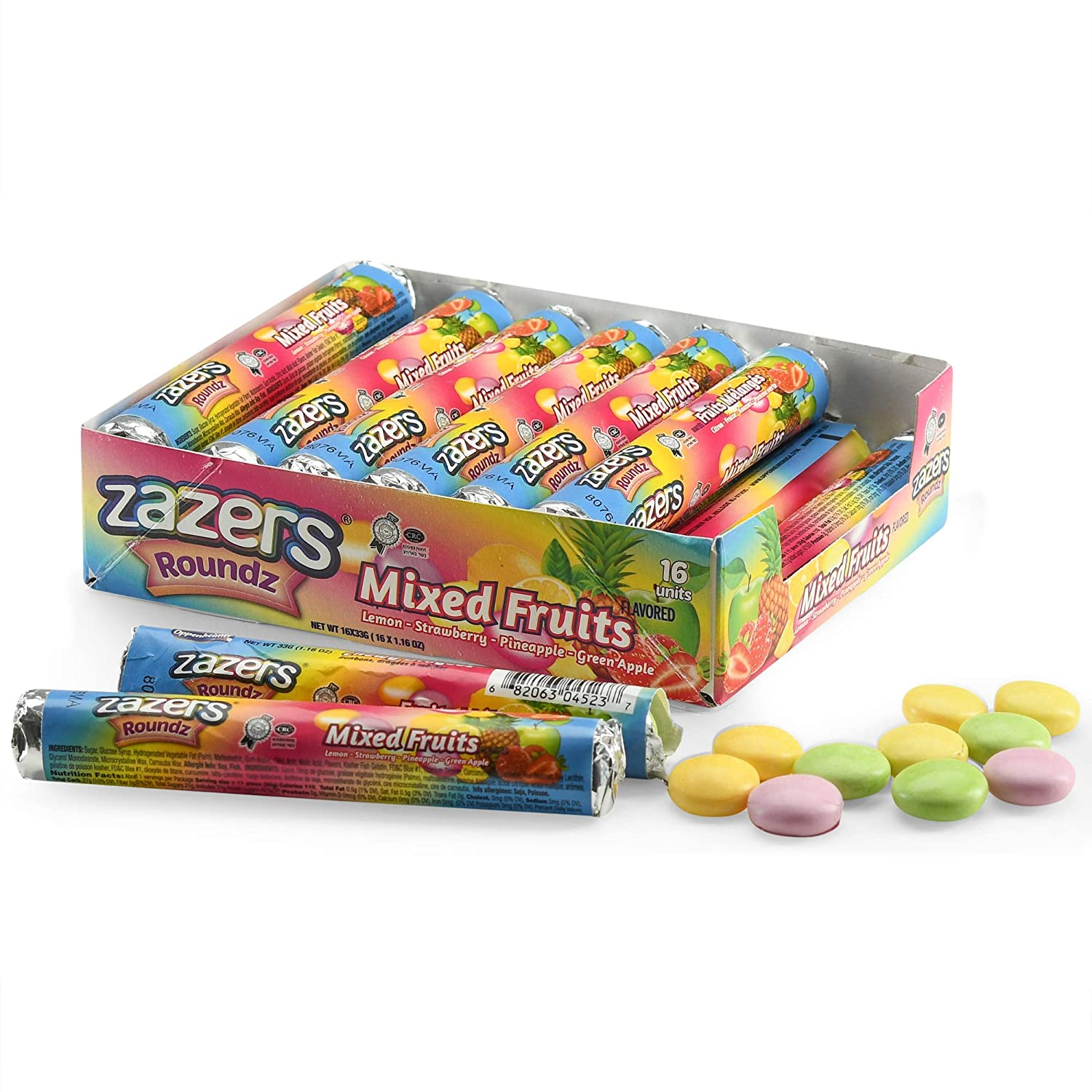 Zazers Chewy Round Candy Roll, Fruit Flavored Candy, Lemon, Pineapple, Green Apple, and Strawberry Assorted Flavored Candy Non Melting Bulk Candy for Home Office Party Pack of 16