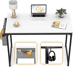"""CubiCubi Computer Desk 32"""" Study Writing Table for Home Office, Modern Simple Style PC Desk, Black Metal Frame, White"""