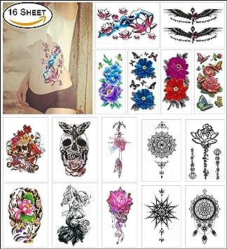 Cokohappy 16 Feuilles Temporaire Tatouage Pour Girl Pour Femmes