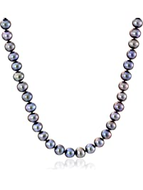 14K Yellow Gold 8mm-9mm Black Freshwater Cultured AA Quality Pearl Strand Necklace