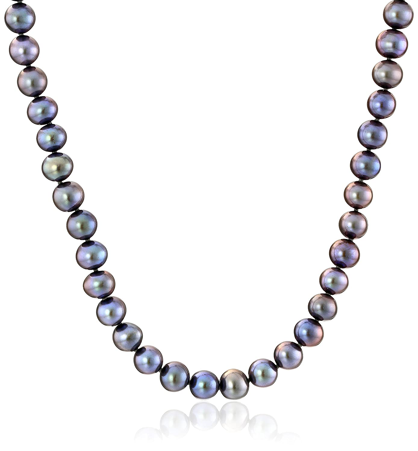 14K Yellow Gold 8mm-9mm Black Freshwater Cultured AA Quality Pearl Strand Necklace 18 Amazon Collection LN6204BLYG18