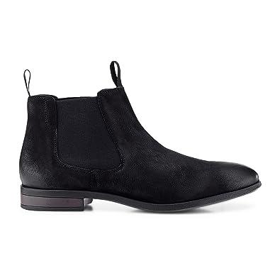 save off 96e64 f27dd Cox Herren Chelsea Boots aus Leder, lässige Stiefel in Schwarz mit  Rutschfester Sohle