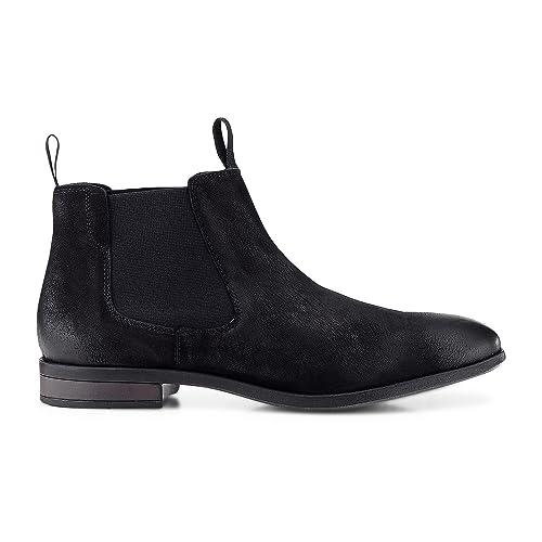 Cox Herren Chelsea Boots aus Leder, lässige Stiefel in Schwarz mit Rutschfester Sohle