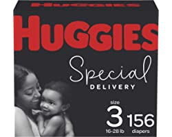 Diapers Size 3 - Huggies Special Delivery Hypoallergenic Disposable Baby Diapers, 156ct, One Month Supply