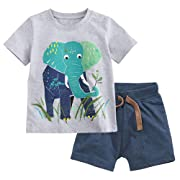 Fiream Baby Boy's Cotton Cute Short Sleeve Clothing Set (18Months, Set1)