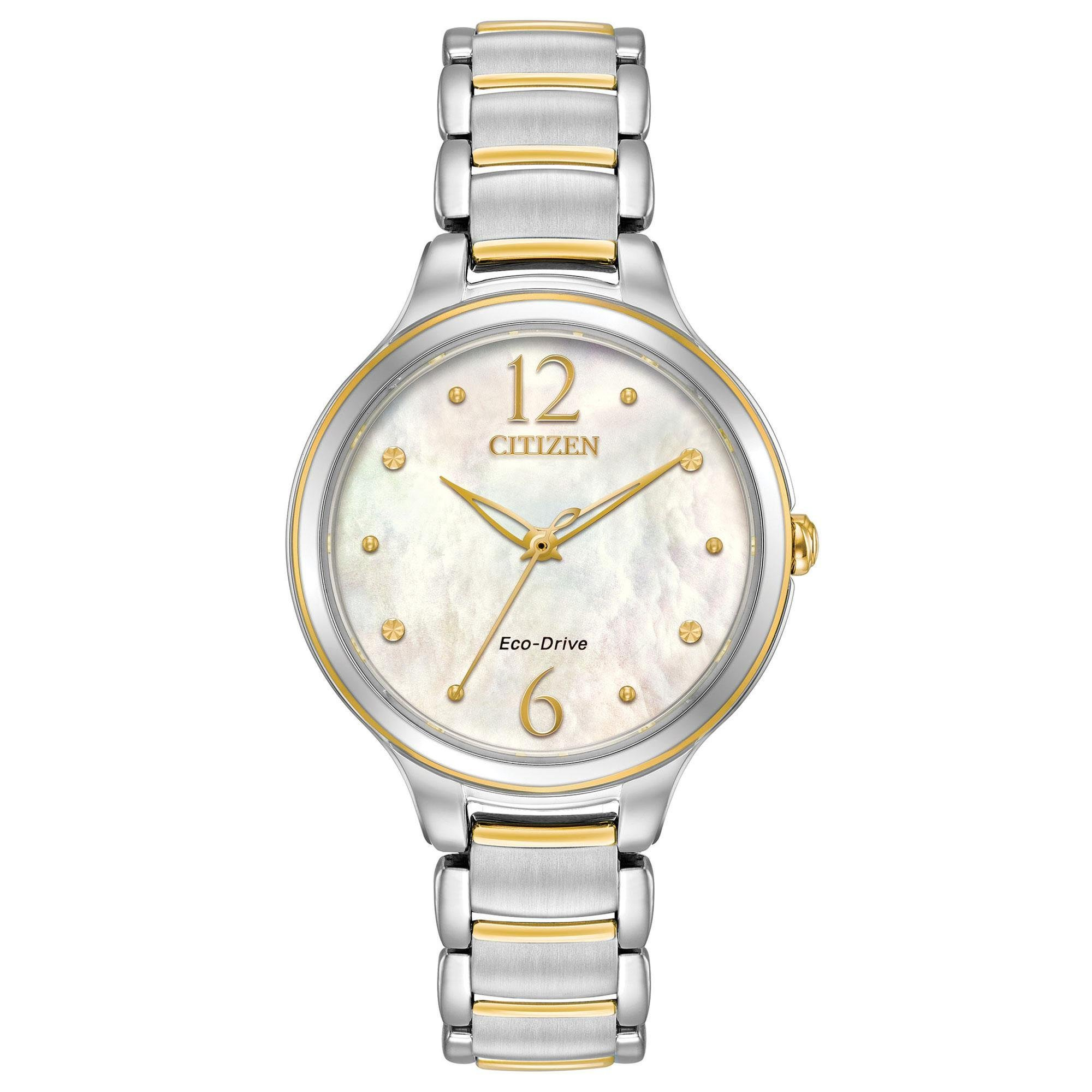 Citizen Women's 'Eco-Drive' Quartz Stainless Steel Casual Watch, Color:Two Tone (Model: EM0554-58N)