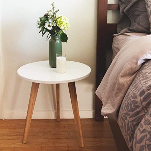 Wood Steel Mid-Century Modern Round Side Table in White Finish