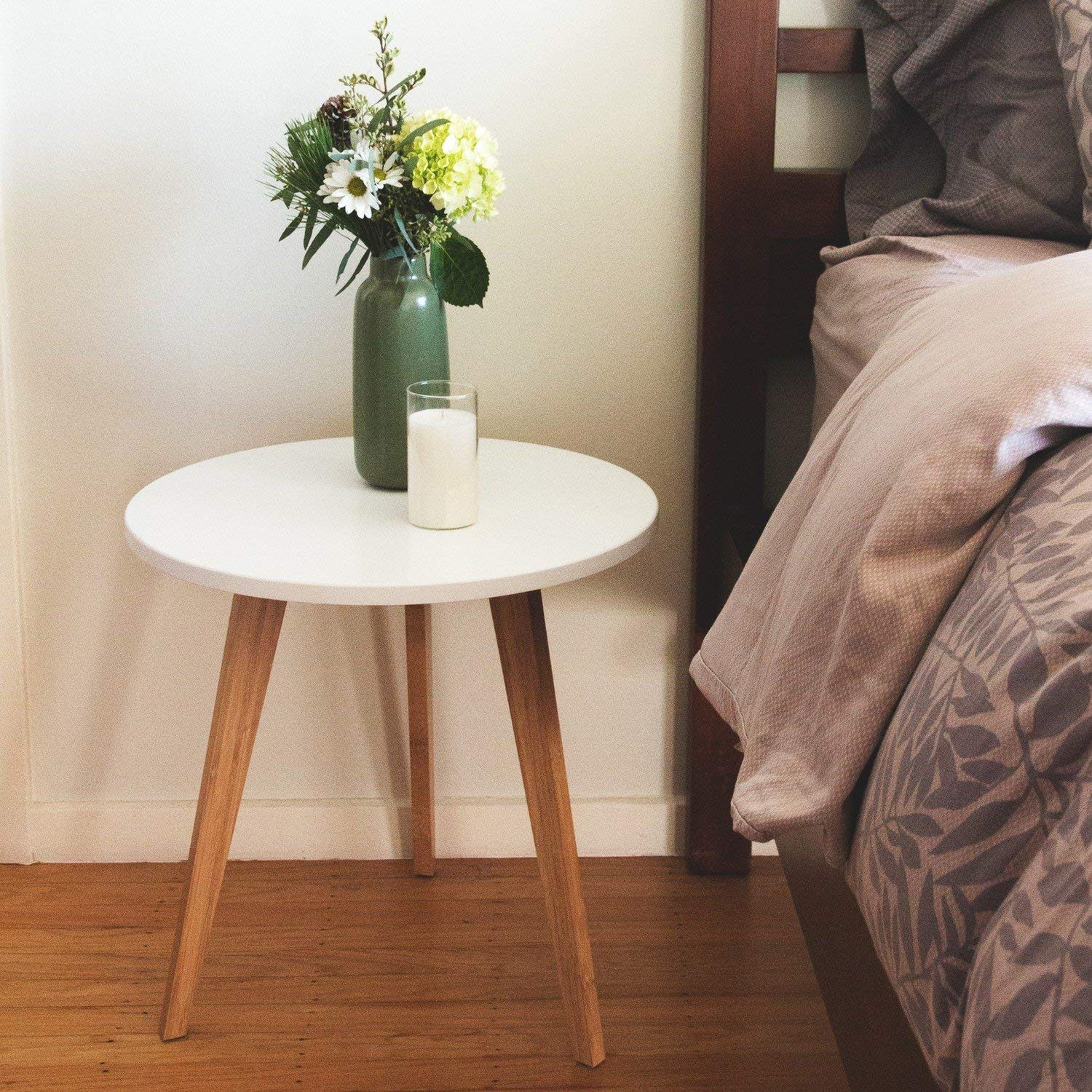 STNDRD. Mid-Century Modern End Table: Perfect Bedside Nightstand or Living Room Side/Accent Table - White Round Tabletop & 3 Bamboo Legs [1-Pack] by STNDRD.