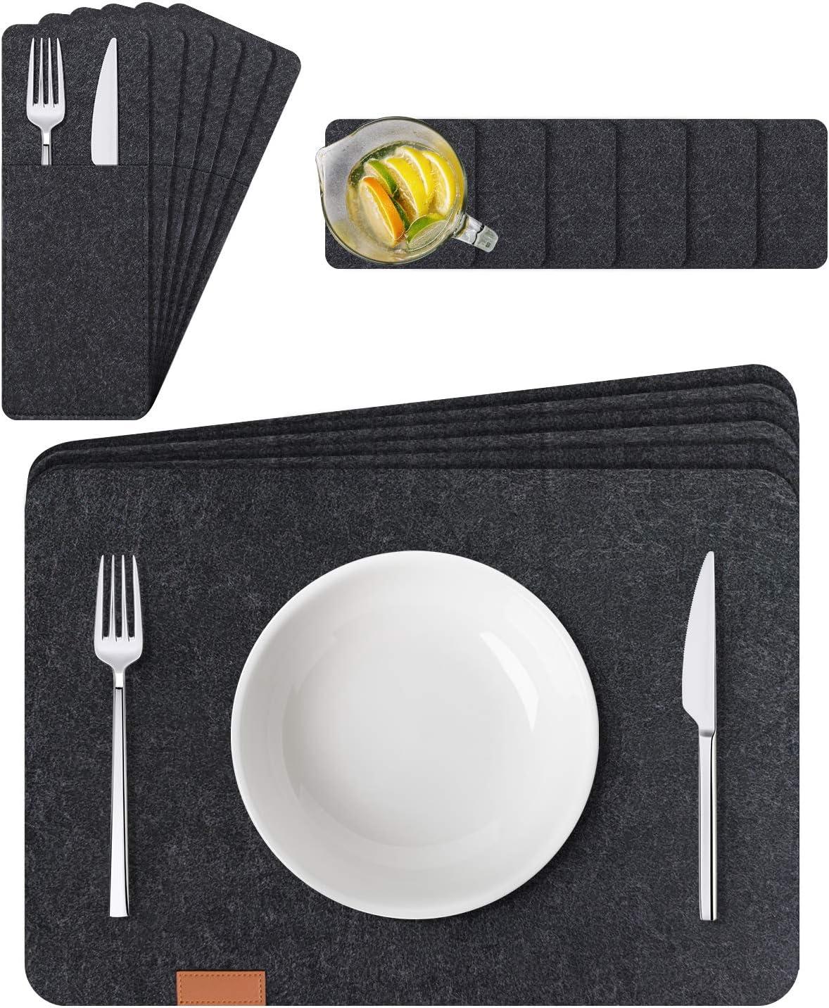 Manteles Individuales Lavables de Fieltro Juego de 6 – Incluidos Mantel Individual, Posavasos, Bolsas para Cubiertos – para la Mesa de Comedor de Cocina (Gris): Amazon.es: Hogar