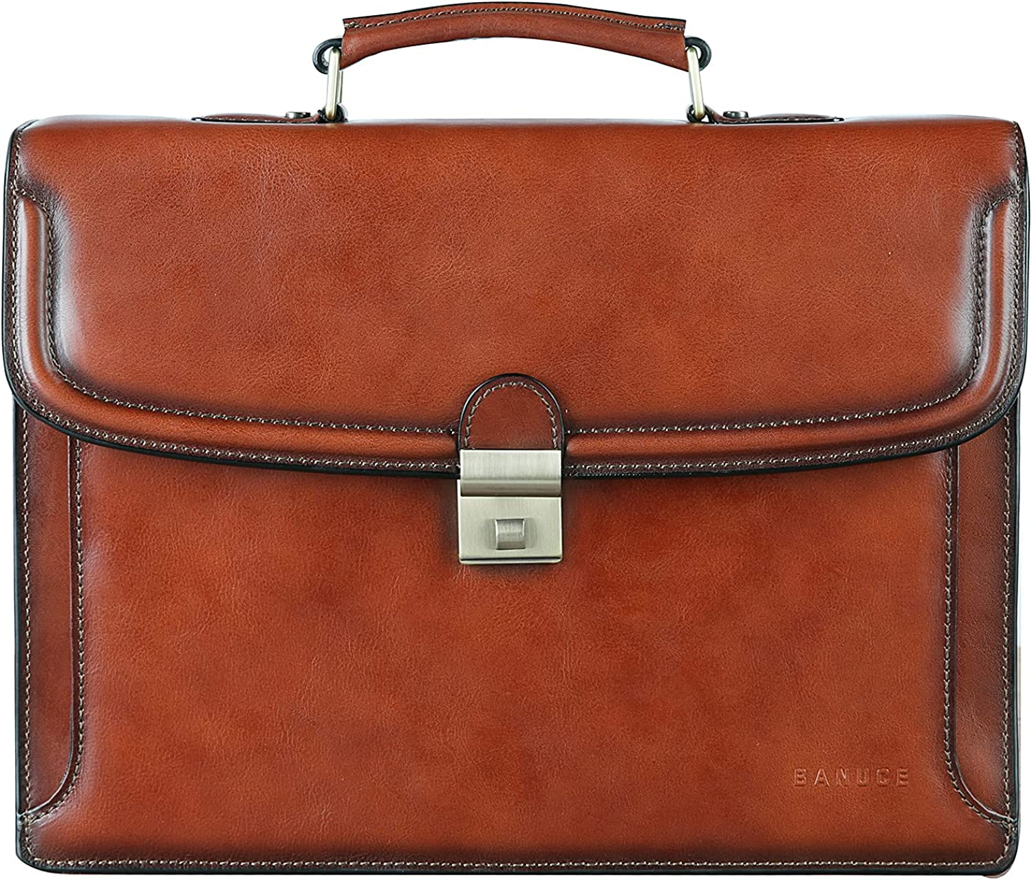 Banuce Vintage Full Grains Italian Leather Briefcase for Men Attache Case with Lock 14 Inch Laptop Bags Business Tote Work Bag