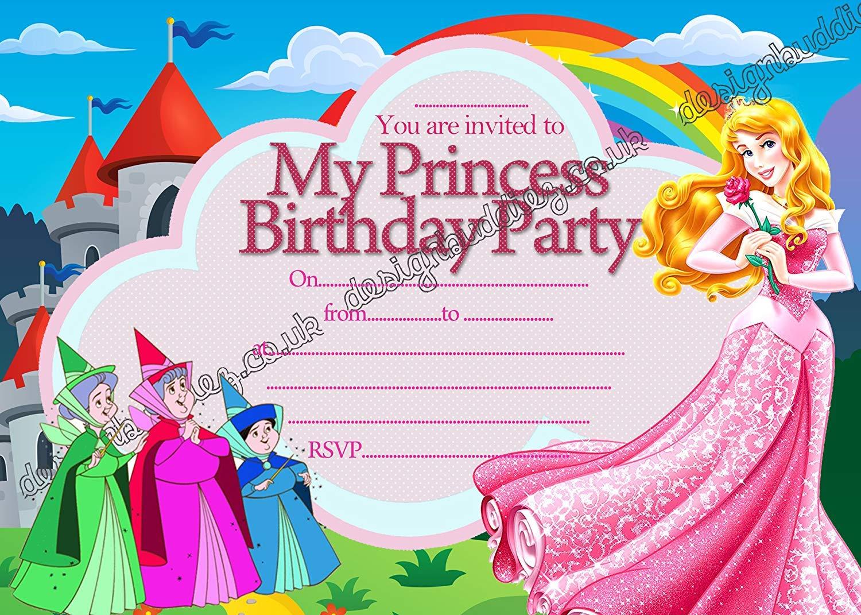 10 x Disney princesa Aurora bella durmiente Birthday – invitaciones para fiestas con 10 libre sobres, 20