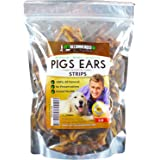 NEW Vet Recommended - 100% Natural Pigs Ears For Dogs - Strips & Slivers - Pork Ear Dog Treats. Healthy Dog Chews With a Delicious & Rich Taste (1 lb Bag)