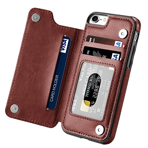 wholesale dealer ead32 302aa iPhone 7 Case, iPhone 8 Case, Hoofur Slim Fit Premium Leather iPhone 7  Wallet Casae Card Slots Shockproof Folio Flip Protective Shell for Apple  iPhone ...