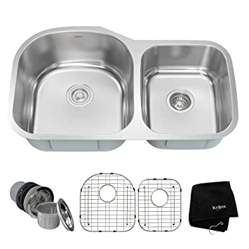 kraus kbu27 35 inch undermount 60 40 double bowl 16 gauge stainless steel kitchen sink kraus kbu27 35 inch undermount 60 40 double bowl 16 gauge      rh   amazon com
