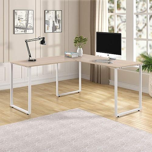 L-Shaped Corner Workstation Computer Desk Home Office Wood Laptop Table, Oak