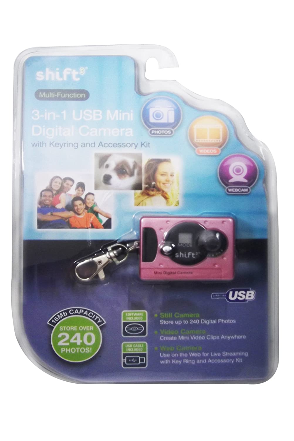 Amazon com shift3 multi function 3 in 1 usb mini digital camera with keyring various colors point and shoot digital cameras camera photo