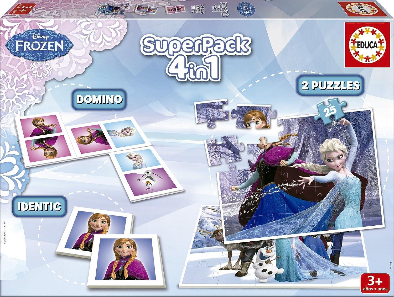 Juegos educativos Educa - Disney superpack 4 en 1, juego de mesa con diseño de Frozen (16144) Educa Borrás EB16144 Educa borras calidad
