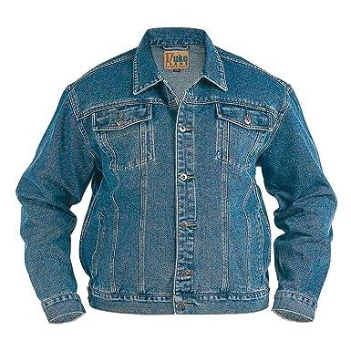 Dukes Mens Denim Jacket Trucker Style Blue Black Jean At Amazon